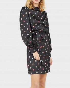 Scotch & Soda Φόρεμα Short Printed Dress With Zip-up Collar - 159004 - ΜΑΥΡΟ