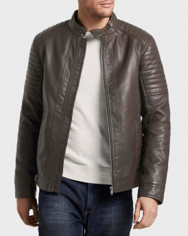 Tom Tailor Δερμάτινο PU Faux Leather Biker Jacket - 1019698.ΧΧ.10 - ΚΑΦΕ