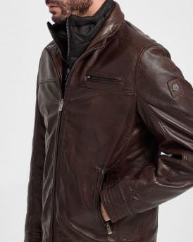 Milestone Δερμάτινο Jacket - 301063 20040 ΜΑΝUEL - ΚΑΦΕ