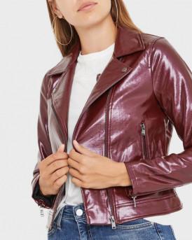 Only Δερμάτινο PU Leather Look Biker Jacet - 15186148 - ΜΠΟΡΝΤΩ