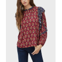 PEPE JEANS ΜΠΛΟΥΖΑ Μ.Μ  MIKA PRINTED BLOUSE WITH FRILL DETAIL- PL303830  - ΜΠΟΡΝΤΩ