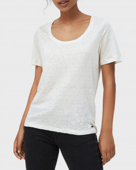PEPE JEANS ΜΠΛΟΥΖΑ FABIA T-SHIRT IN LINEN FABRIC - PL504628 - ΜΠΕΖ 808
