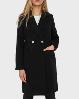 VERO MODA ΠΑΛΤΟ LONG DOUBLE BREASTED COAT - 10236931 - ΜΑΥΡΟ
