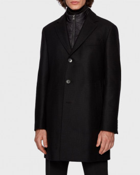 BOSS ΠΑΛΤΟ SLIM-FIT WOOL BLEND COAT - 50438654 - ΜΑΥΡΟ