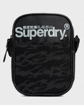 Superdry Ανδρικό Τσαντάκι Βlack Shoulder Bag - Μ9110203Α - ΑΝΘΡΑΚΙ