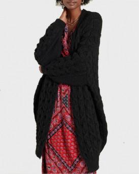 SUPERDRY ΖΑΚΕΤΑ ΠΛΕΚΤΗ Grace Oversized Cable Cardigan - W6110128Α - ΜΑΥΡΟ