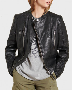SUPERDRY ΔΕΡΜΑΤΙΝΟ CLASSIC LEATHER RACER JACKET - W5010331Α - ΜΑΥΡΟ