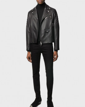 DSQUARED2 ΔΕΡΜΑΤΙΝΟ quilted detailed biker jacket - S74AM1086SY1491 - ΜΑΥΡΟ