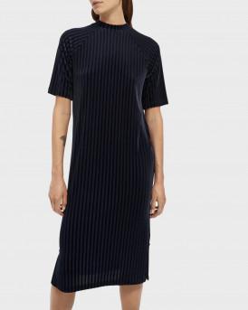 Scotch & Soda Stripe Velvet Midi Dress - 159008 - ΜΠΛΕ