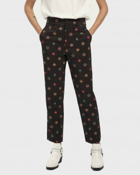 Scotch & Soda Παντελόνι Star Print Tailored Pants Mid-rise - 159076 - ΜΑΥΡΟ