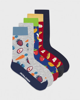 JACK & JONES ΚΑΛΤΣΕΣ BANANA SOCK 5 PACK - 12180944 - MULTI