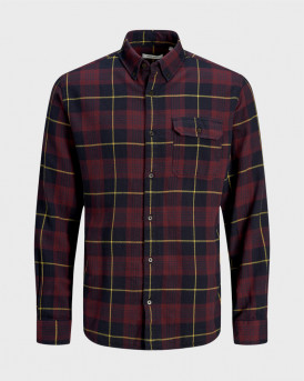 JACK & JONES EMMERSON SHIRT LS - 12174065 - ΜΠΟΡΝΤΩ