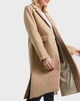 TOM TAILOR ΠΑΛΤΟ CLASSIC WOOL COAT WITH SIDE SLITS - 1021022.XX.77 - ΜΠΕΖ