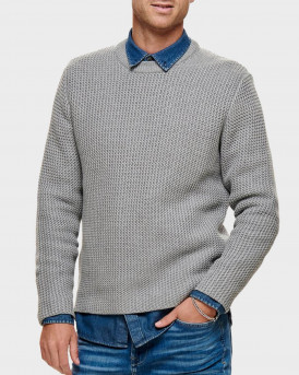 Only & Sons Πλεκτό Τexture Knitted Pullover - 22014431 - ΓΚΡΙ