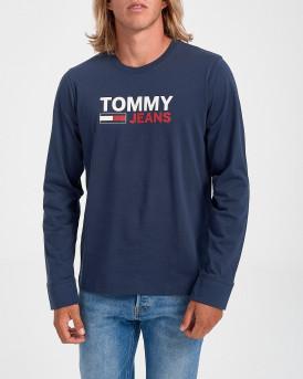 Tommy Hilfiger Mπλούζα Long Sleeve Flag T-Shirt - DΜ0DM09487 - ΜΠΛΕ