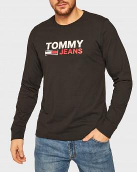 Tommy Hilfiger Mπλούζα Long Sleeve Flag T-Shirt - DΜ0DM09487 - ΜΑΥΡΟ