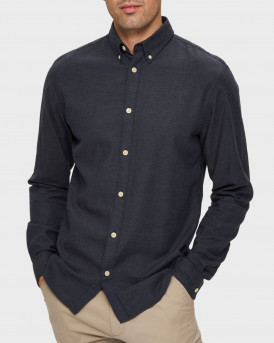 SELECTED ΠΟΥΚΑΜΙΣΟ BUTTON DOWN COLLAR SHIRT - 16076544 - ΜΠΛΕ