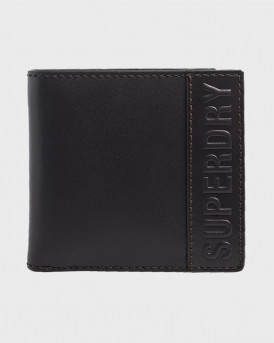 Superdry Πορτοφόλι Vermont Bifold Leather Wallet - M9810113A - ΜΑΥΡΟ