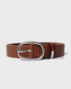 Toomy Hilfiger Flag Inlay Leather Belt - ΑΜ0ΑΜ09001 - ΤΑΜΠΑ
