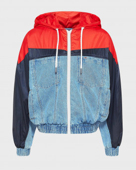 TOMMY HILFIGER DENIM JACKET WITH HOOD - DW0DW10073 - ΜΠΛΕ