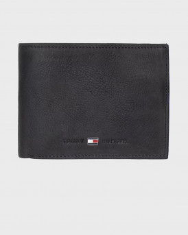 TOMMY HILFIGER LEATHER TRIFOLD WALLET - ΑM0AM00665 - ΜΑΥΡΟ