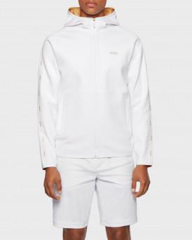BOSS Interlock-fabric hooded sweatshirt with logo-tape trim - 50448187 SAGGY2 - ΑΣΠΡΟ