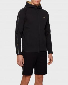 BOSS Interlock-fabric hooded sweatshirt with logo-tape trim - 50448187 SAGGY2 - ΜΑΥΡΟ