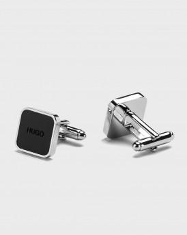 HUGO Square brass cufflinks with logo enamel core - 50443015 Ε-STAIN - ΜΑΥΡΟ