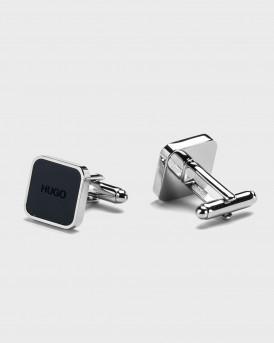 HUGO Square brass cufflinks with logo enamel core - 50443015 Ε-STAIN - ΜΠΛΕ