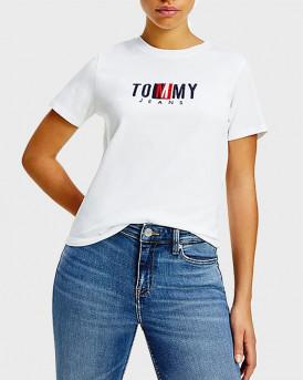 TOMMY HILFIGER ΜΠΛΟΥΖΑ  LOGO EMBROIDERY T-SHIRT - DW0DW09809 - ΑΣΠΡΟ