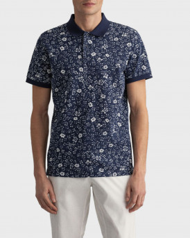 GANT Freedom Flower Print Pique Polo Shirt - 2022092 - ΜΠΛΕ