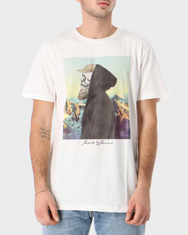 JACK & JONES SKULLING CREW NECK Τ-Shirt - 12177076 - ΑΣΠΡΟ