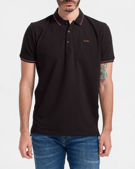 HUGO Slim-fit polo shirt in stretch-cotton pique - 50448780 DINOSO - ΜΑΥΡΟ