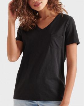 Superdry Γυναικεία Μπλούζα Organic Cotton Pocket V-Neck T-Shirt - W1010521Α - ΜΑΥΡΟ