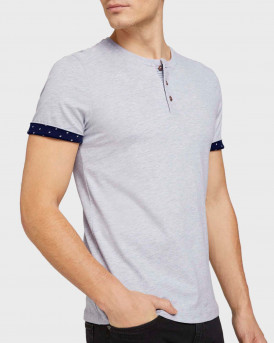 TOM TAILOR Soft henley made with organic cotton - 1024926 - ΓΚΡΙ
