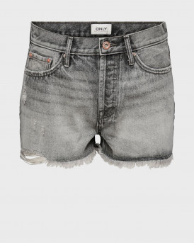 ONLΥ FINE LIFE HW GREY DENIM SHORTS - 15226961 - ΓΚΡΙ