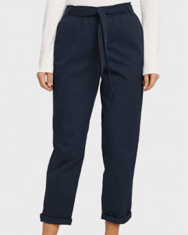 TOM TAILOR Tapered fabric trousers with a paperbag waist - 1025234 - ΜΠΛΕ