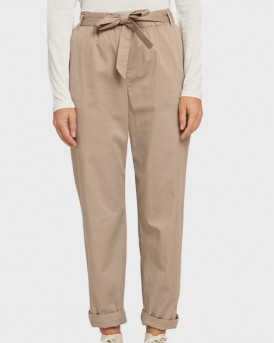 TOM TAILOR Tapered fabric trousers with a paperbag waist - 1025234 - ΜΠΕΖ
