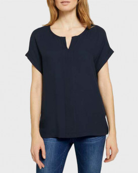 TOM TAILOR Henley t-shirt in a material mix - 1024042 - ΜΠΛΕ