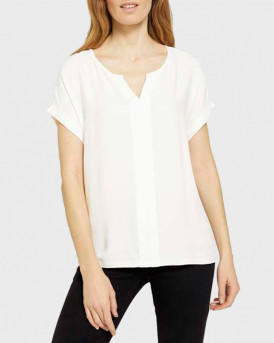 TOM TAILOR Henley t-shirt in a material mix - 1024042 - ΑΣΠΡΟ