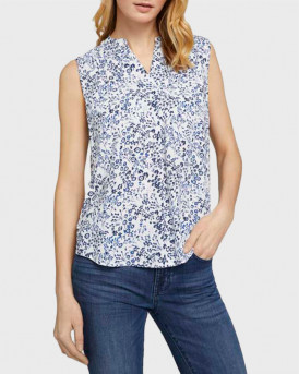 TOM TAILOR Sleeveless blouse with a floral print - 1025048 - ΑΣΠΡΟ