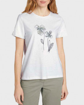TOM TAILOR Striped T-shirt with a print - 1025286 - ΑΣΠΡΟ