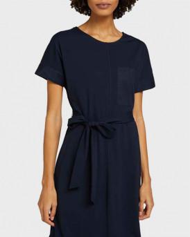 TOM TAILOR Elastic dress with a tie belt - 1025086 - ΜΠΛΕ
