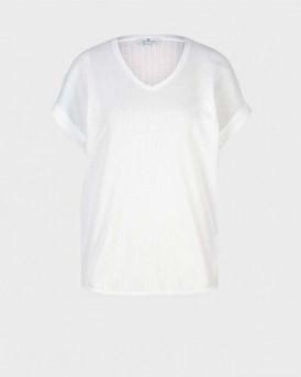 TOM TAILOR Textured t-shirt with a V-neckline - 1025274 - ΑΣΠΡΟ