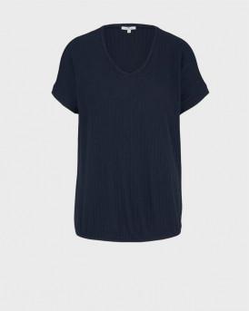 TOM TAILOR Textured t-shirt with a V-neckline - 1025274 - ΜΠΛΕ