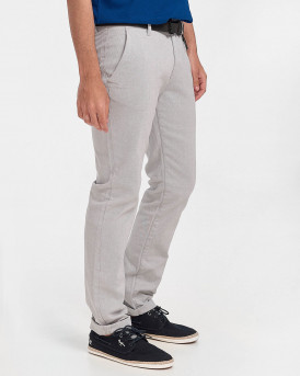 TOM TAILOR Textured chinos with a belt - 1020451 - ΓΚΡΙ