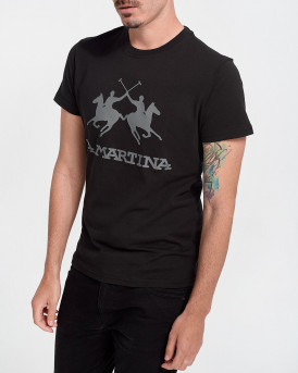 LA MARTINA Men T-Shirt - CCMR01 JS206 - ΜΑΥΡΟ
