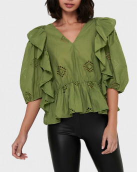 ONLY FRILL TOP OPEN NECKLINE - 15224625 - ΛΑΔΙ