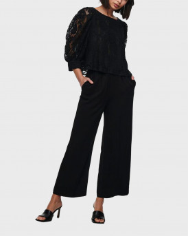 ONLY WIDE FITTED TROUSERS - 15227051 - ΜΑΥΡΟ