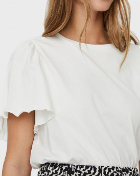 VERO MODA O-NECK SHORT SLEEVED TOP - 10244714 - ΑΣΠΡΟ